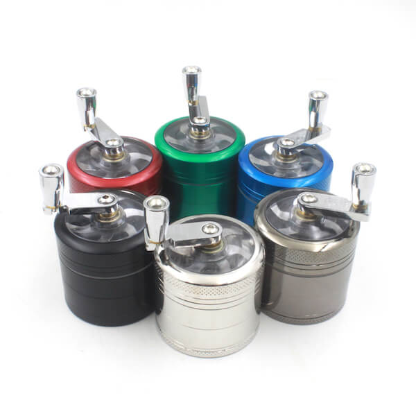 Handle Grinders 50mm Diameter Grinder Zinc Alloy Herb Spice Crusher 4 Layer