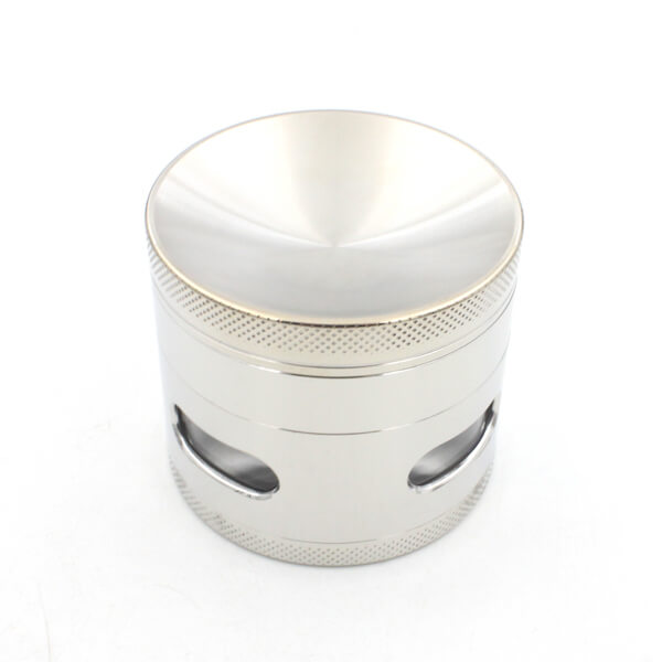 Herb Grinder 4 Layer Concave Bowl Cover 63mm Side Window Mental Tobacco Grinders