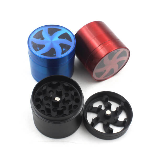 Herb Grinders 40mm Zinc Alloy Grinders With Clear Top Window Lighting Tooth 4 Parts