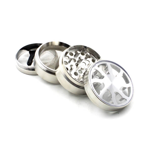 Herb Grinders 50mm Zinc Alloy Grinders With Clear Top Window Lighting Tooth 4 Parts