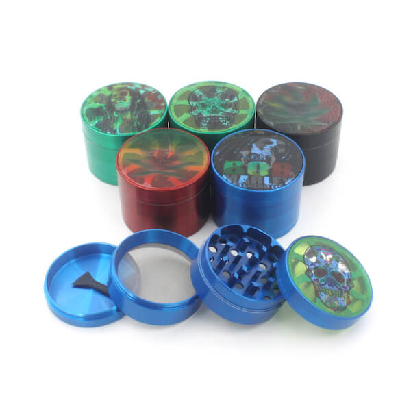 Herb Grinders 55mm Zinc Alloy Grinders With Clear Top Window Lighting Tooth 4 Parts