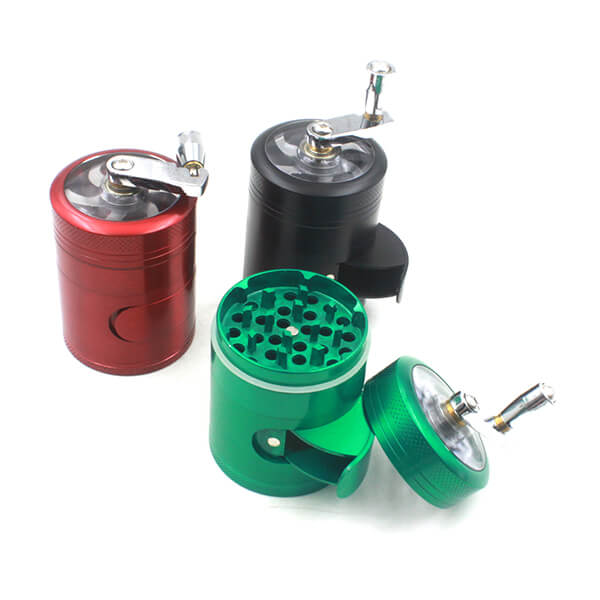 Side Window and Handle Grinders 50mm Diameter Grinder Zinc Alloy Herb Spice Crusher 4 Layer