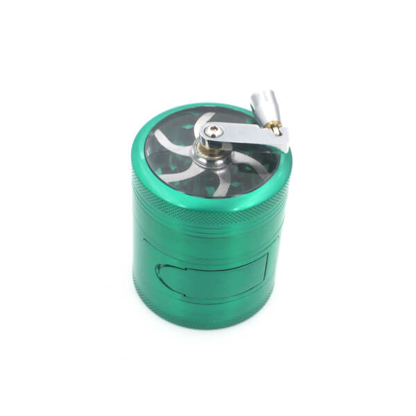 Side Window and Handle Grinders 63mm Diameter Grinder Zinc Alloy Herb Spice Crusher 4 Layer