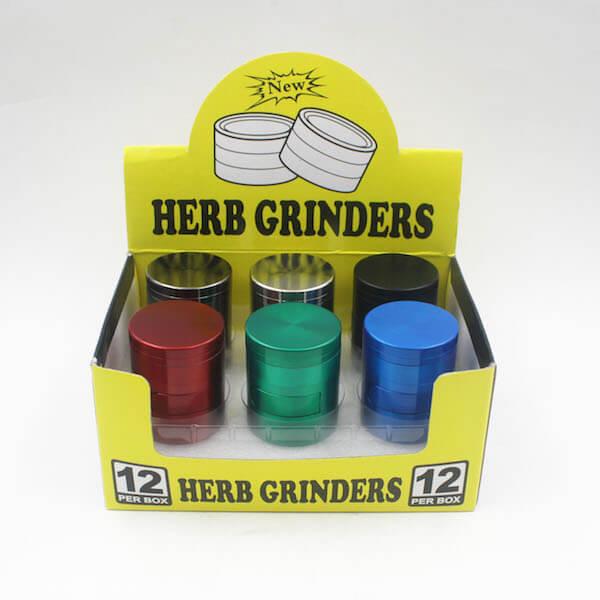 Zinc Alloy Grinder 4 Layer 40mm flat Cabinet Door Tobacco Herb Spice Crusher 01