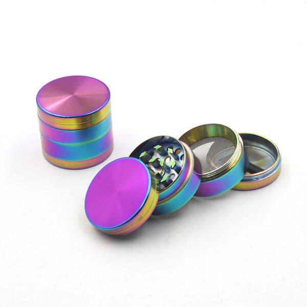 Zinc Alloy Grinder 4 Layer 40mm rainbow Dazzle Color Tobacco Herb Spice Crusher
