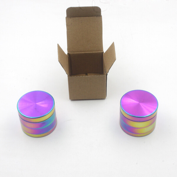 Zinc Alloy Grinder 4 Layer 50mm rainbow Dazzle Color Tobacco Herb Spice Crusher